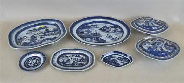 Group Seven Chinese B/W Canton Porcelain Items