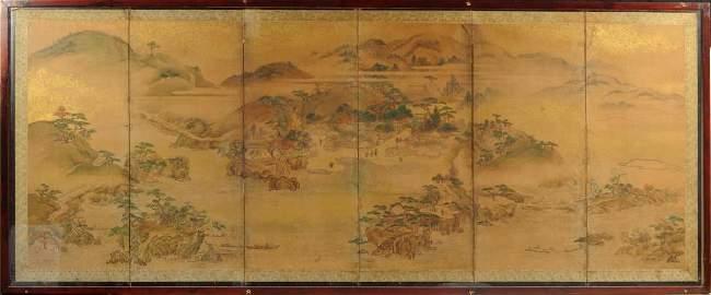Japanese Six Panel Screen, Kano School