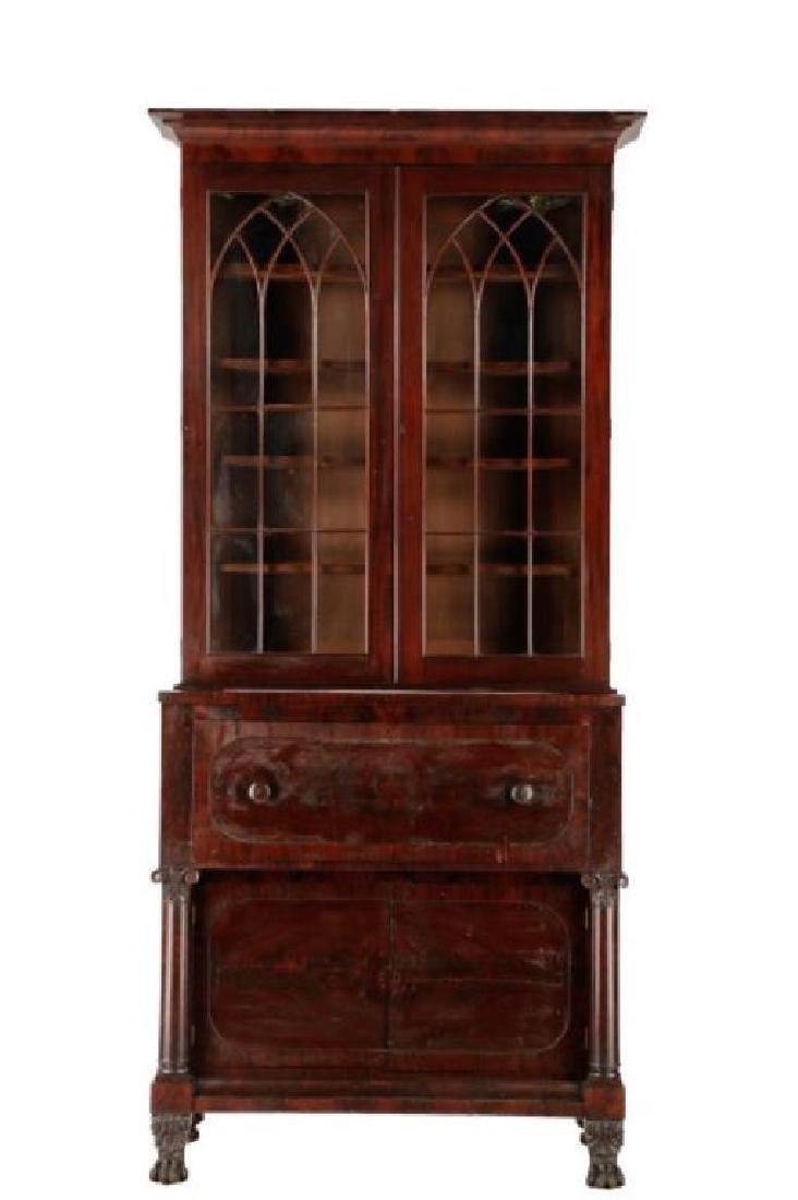 American Classical Mahogany Secretary Bookcase