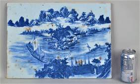 Chinese Blue & White Scenic Porcelain Plaque