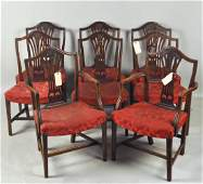 Set Eight George III Carved Mahogany Dining Chairs