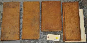 Group of Four 19th C. Leather Bound Ledger Books