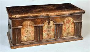 American Painted Three Panel Dower Chest