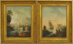 Pair Italian School Paintings, Fishing Scenes, O/P