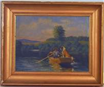 S. Lawrence O/B of Boy & His Dog In Rowboat