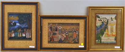 Group Three Indian Miniature Paintings