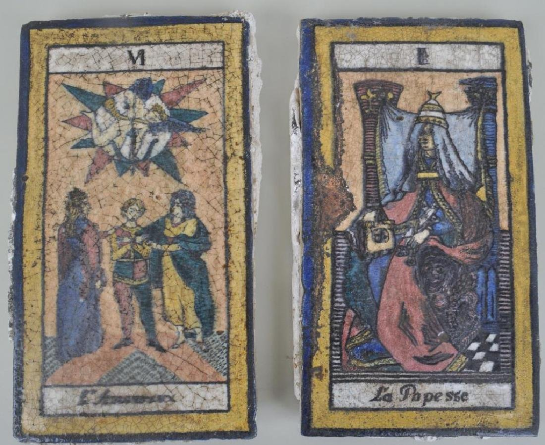 Two 19th C. French Tarot Card Terra Cotta Tiles
