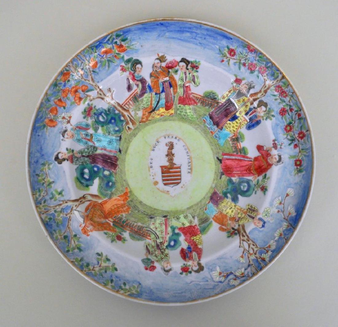 Chinese Export Porcelain Mandarin Armorial Plate