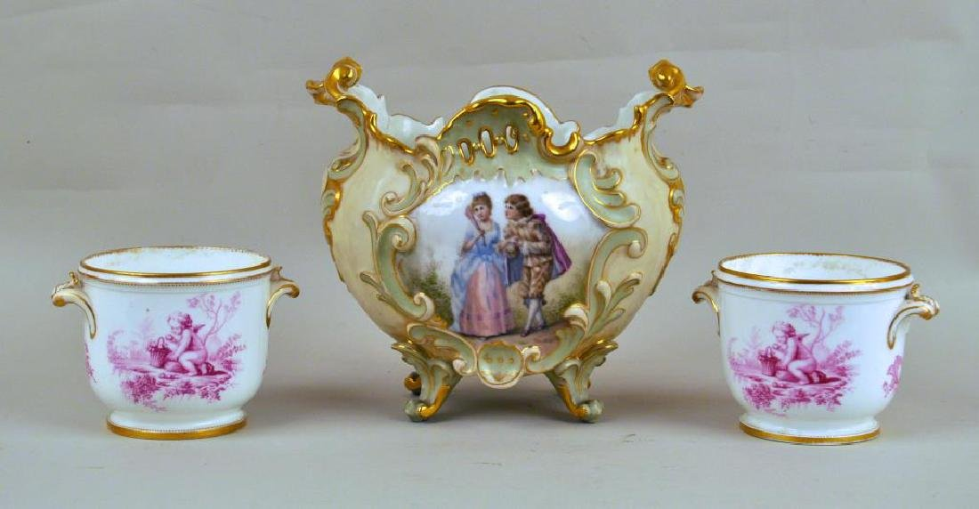 Three Porcelain Cachepots, Including Pair