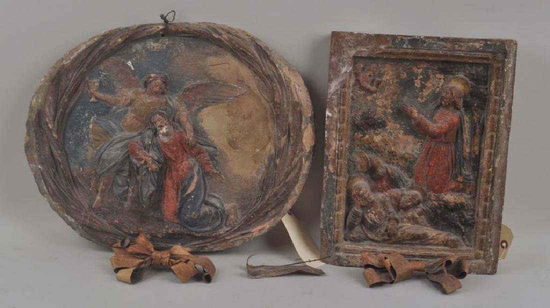 Two Terra Cotta Polychrome Biblical Plaques