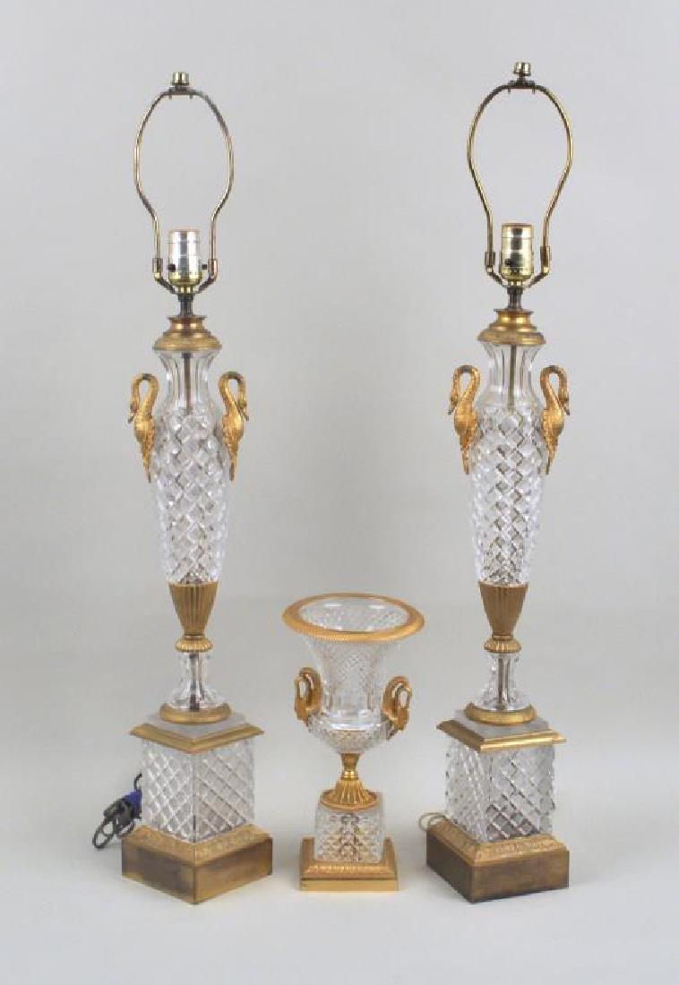 Pair Gilt Metal Mounted Cut Glass Urn Lamps & Urn