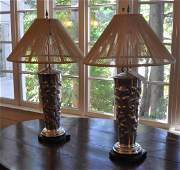 Pair Large Old Sheffield Silver Vases, As Lamps