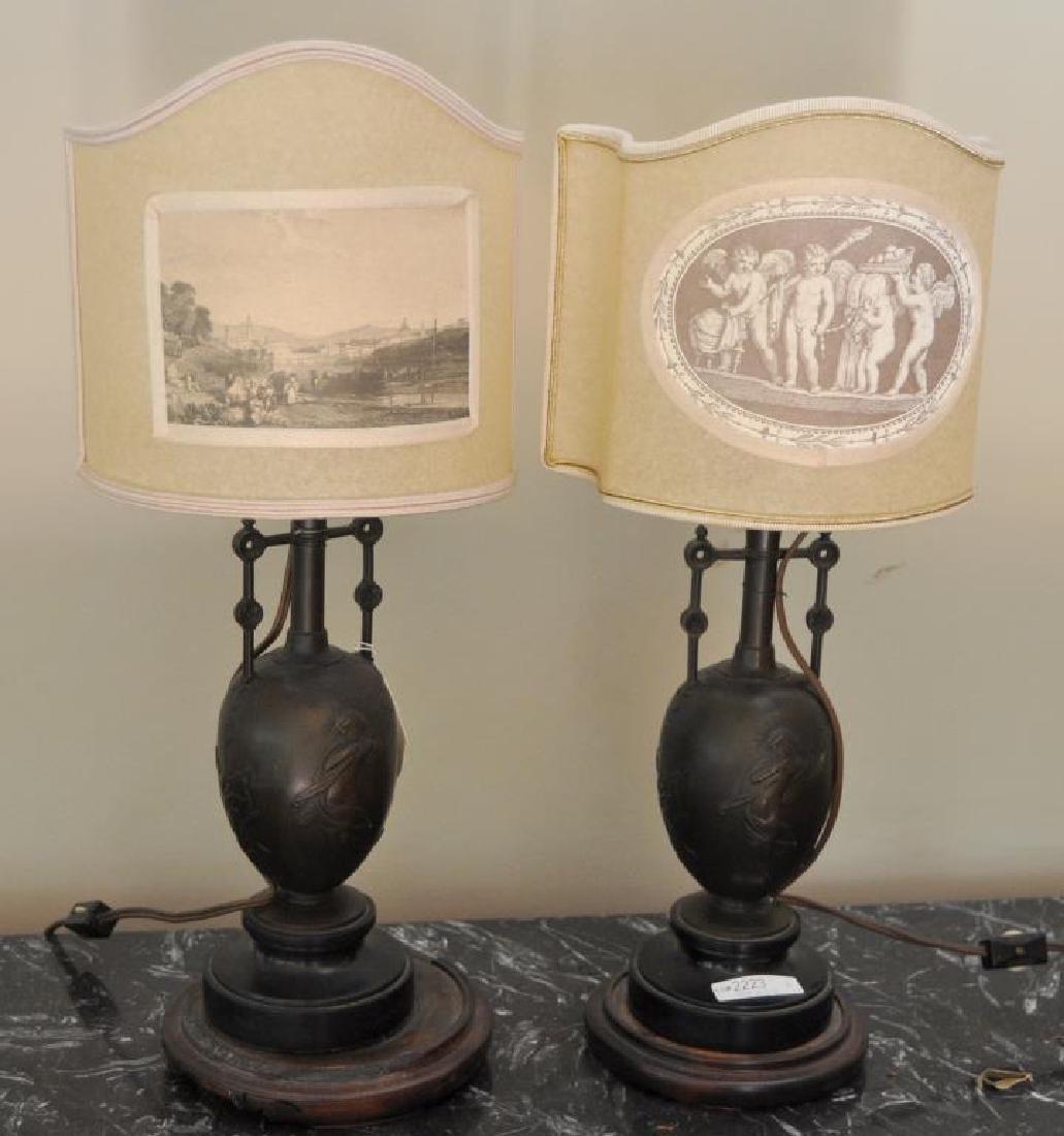 Pair Bronze Ewers/Urns, As Lamps