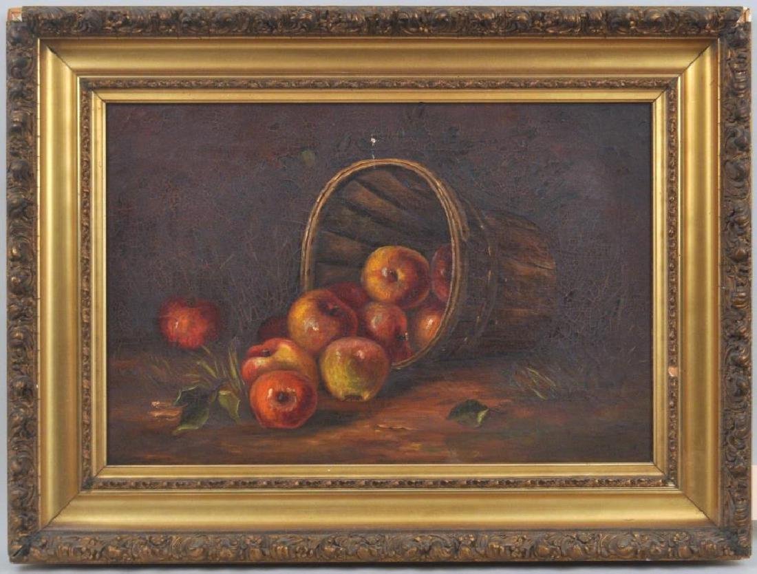 Folk Art O/C Still Life of Apples In Basket