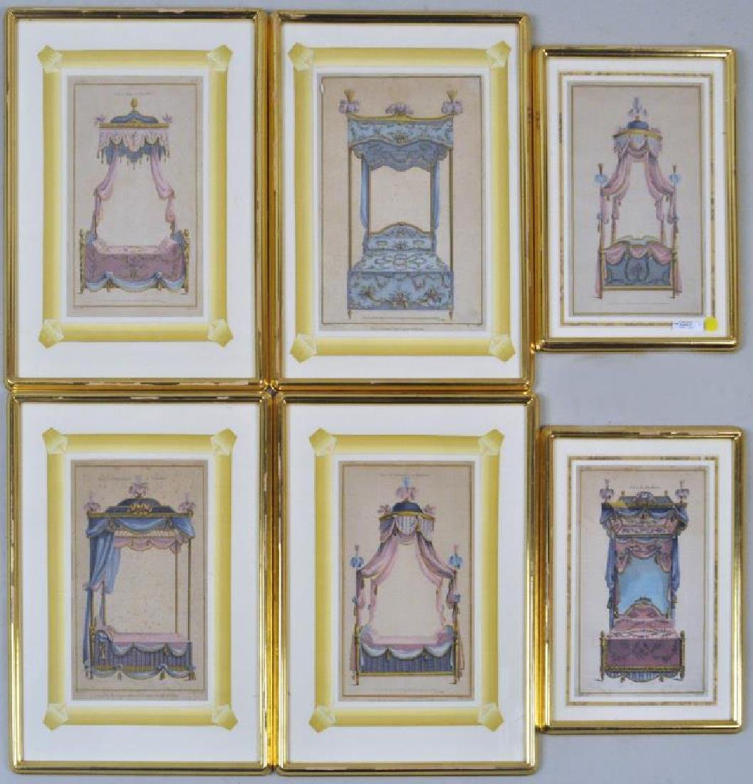 Set Six French Prints of Antique Beds/Hangings