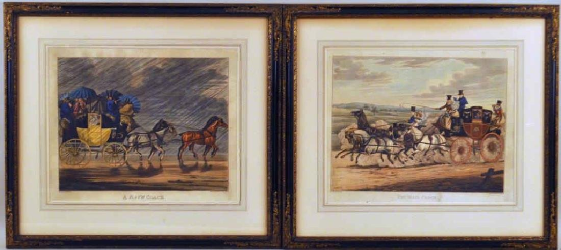 Pair English Hand Colored Coaching Engravings