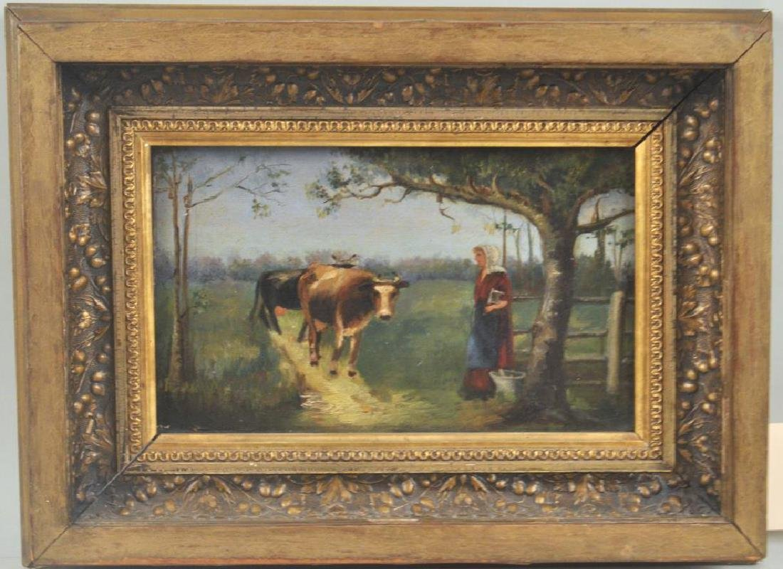 Small Framed O/C Landscape w/Cows & Woman
