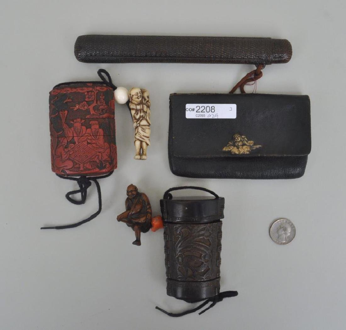 Two Japanese Inro and Pipe Case with Pouch