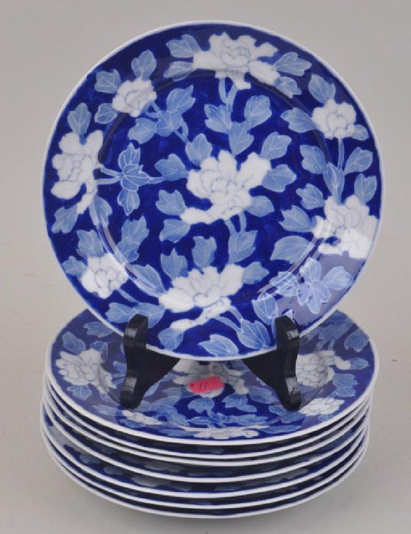 Set Eight Asian Porcelain Floral Plates
