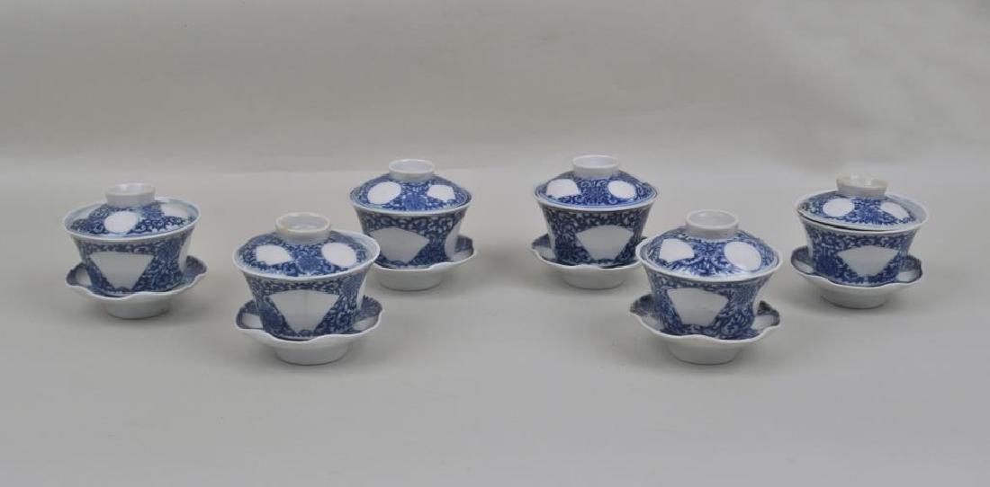 Group Six Chinese Porcelain B/W Tea Bowls