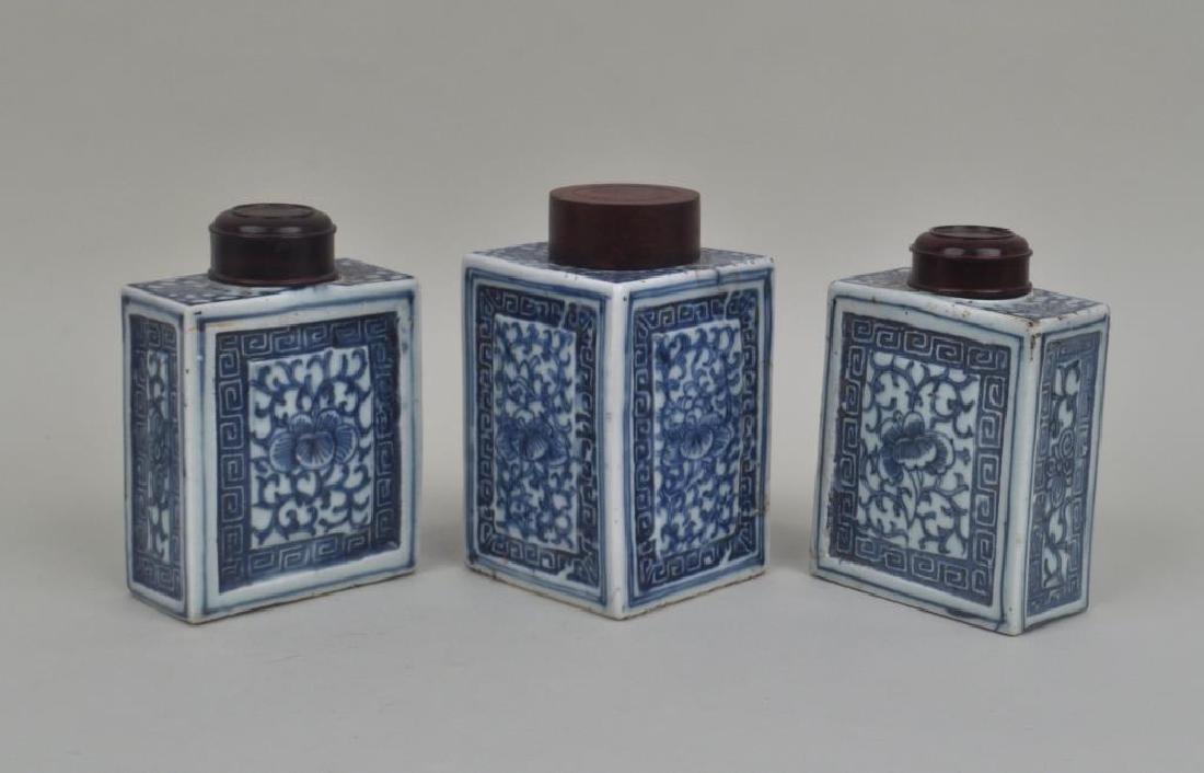 Three Chinese Blue & White Porcelain Tea Caddies