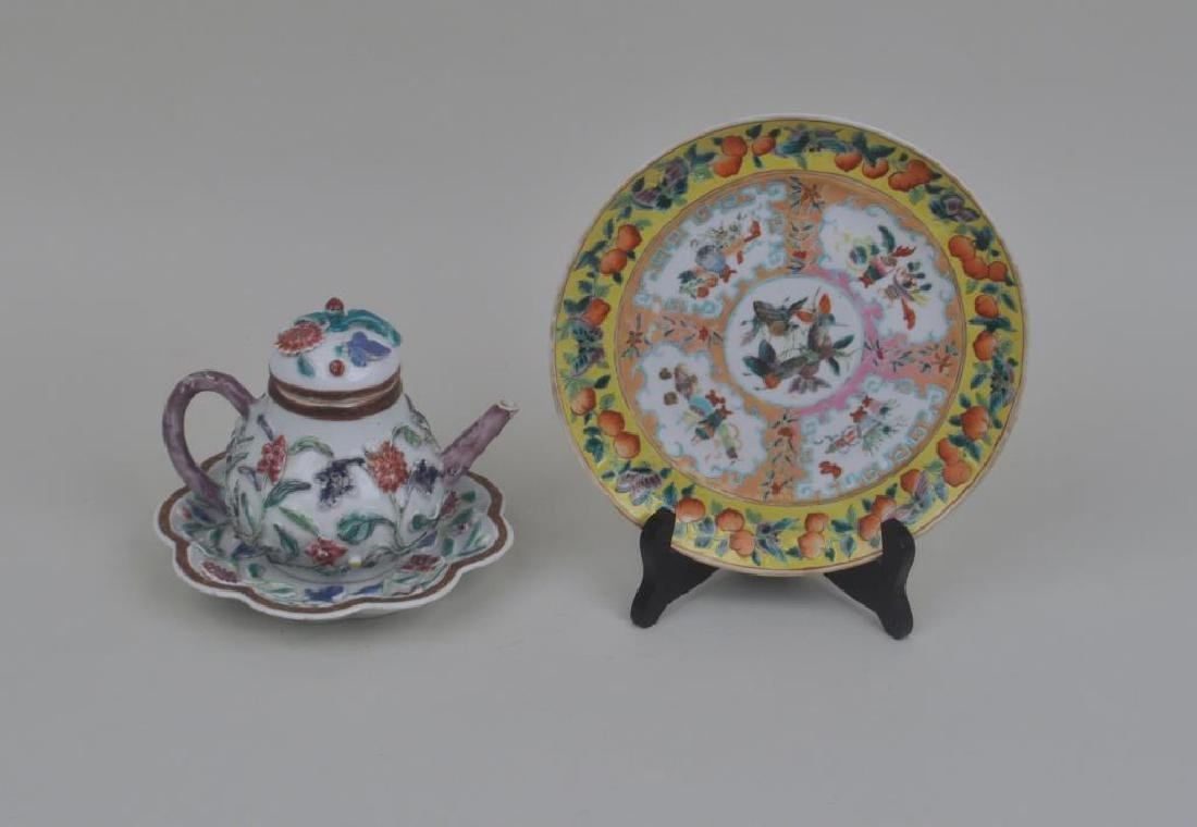 Chinese Export Porcelain Teapot, Bowl & Plate