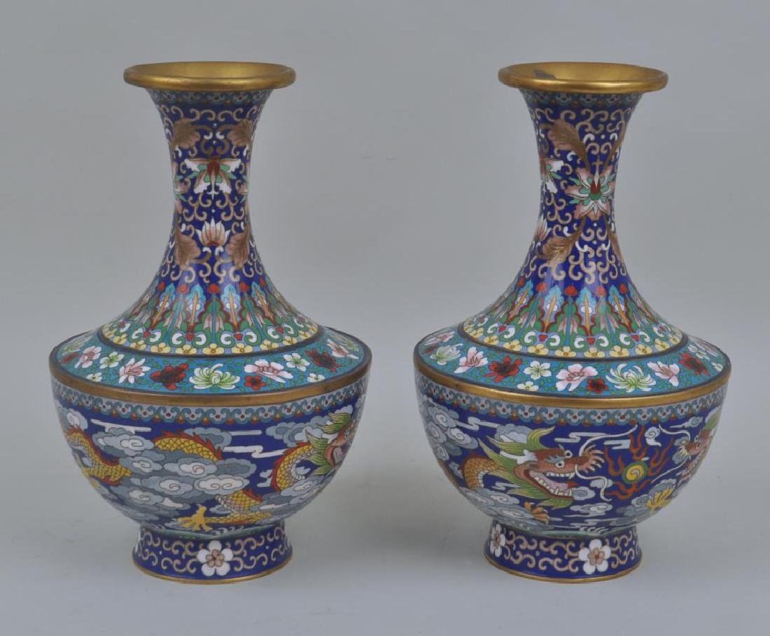 Pair Chinese Gilded Cloisonne Floral Motif Vases