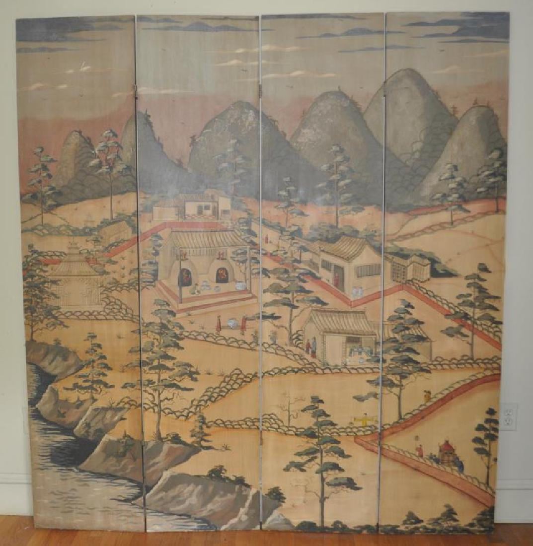 Four Part Asian Design Decorated Folding Screen