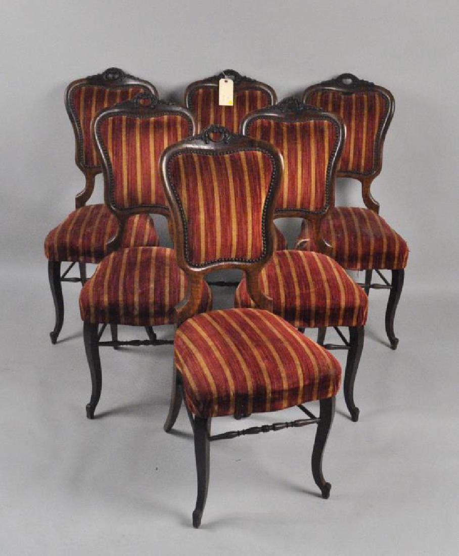 Set Six Continental Carved Walnut Side Chairs