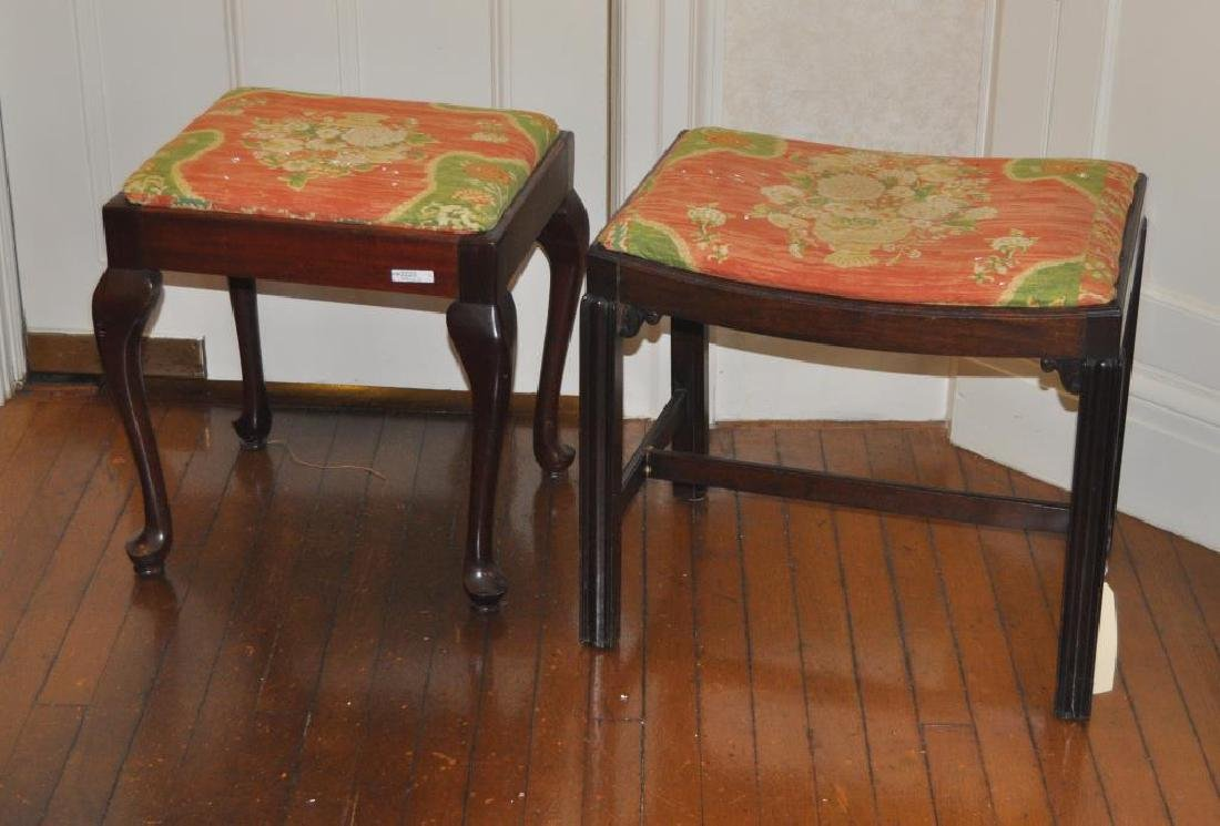 Two Mahogany Footstools