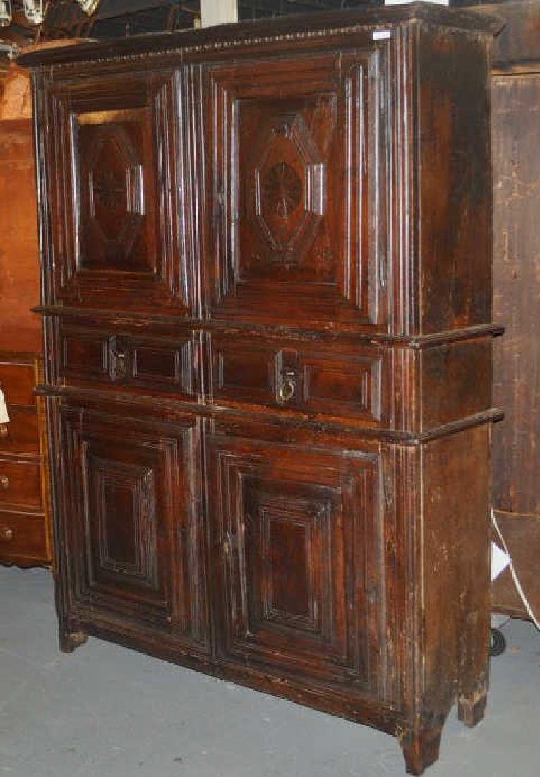 Early French Provincial Carved Walnut Cupboard