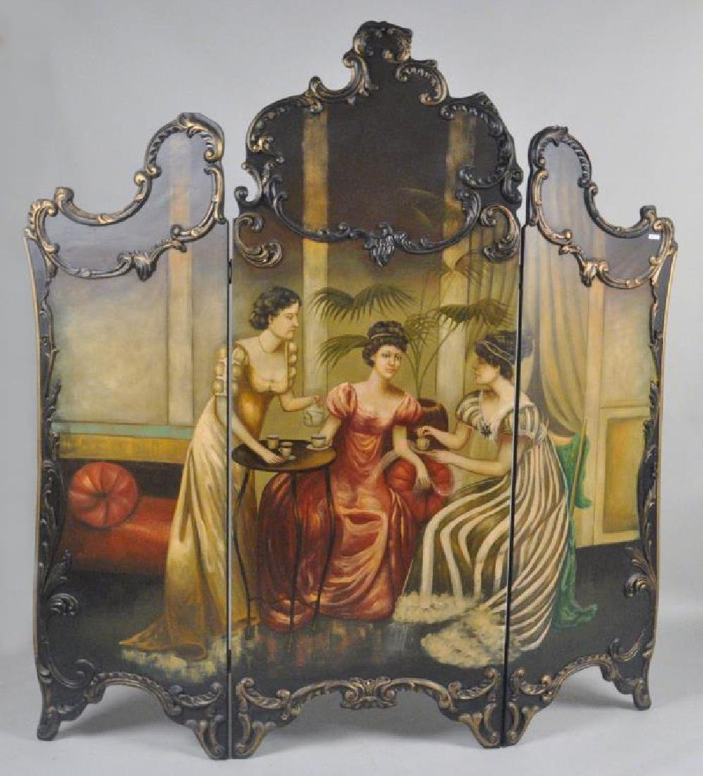 Rococo Revival Style Painted Tri-Fold Screen