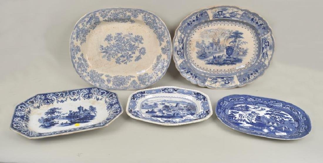 Group Five English B/W Porcelain Platters