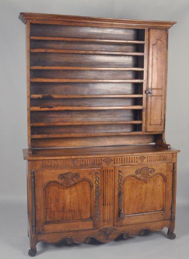 French Two Part Carved Chestnut Vaisselier