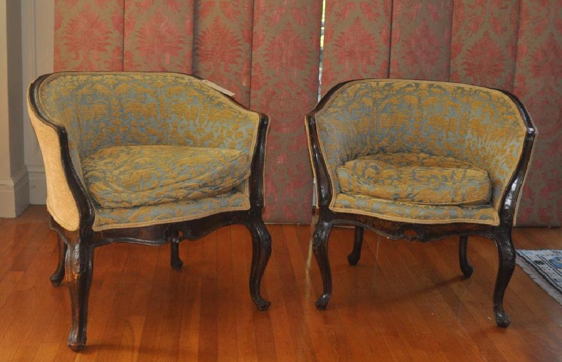 Pair Continental Carved Walnut Tub Chairs