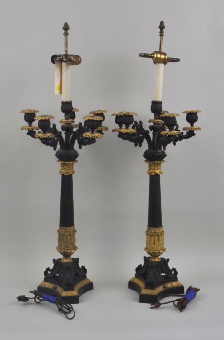 Pair Parcel Gilt Bronze 5-Light Candelabra