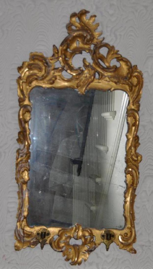 Small Continental Baroque Gilt Mirror