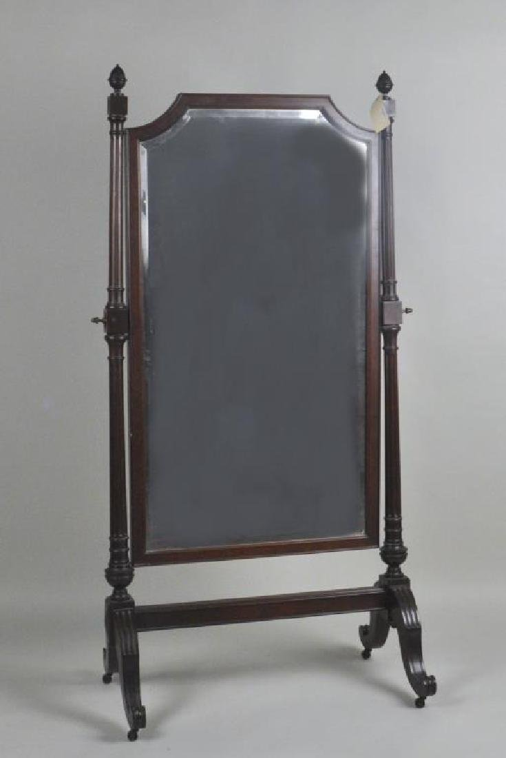 Federal Style Mahogany Cheval Mirror