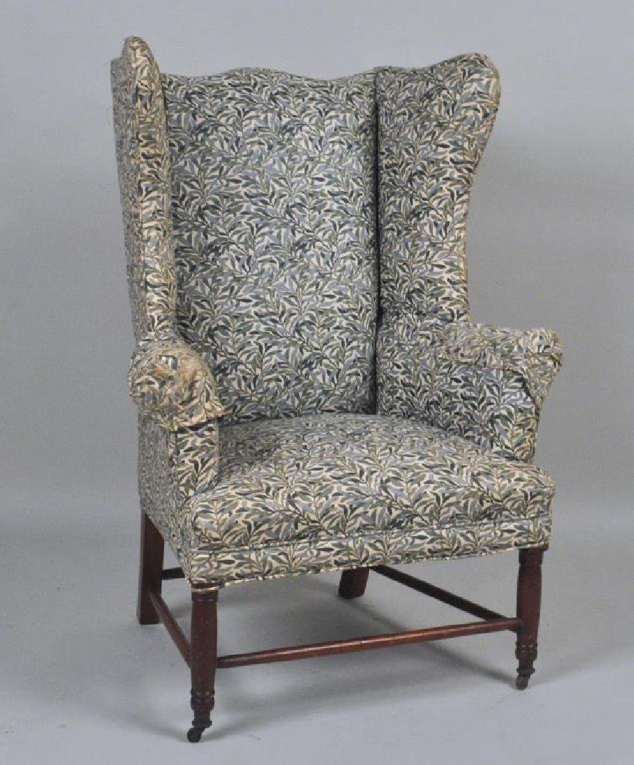 Country Sheraton Upholstered Wing Chair