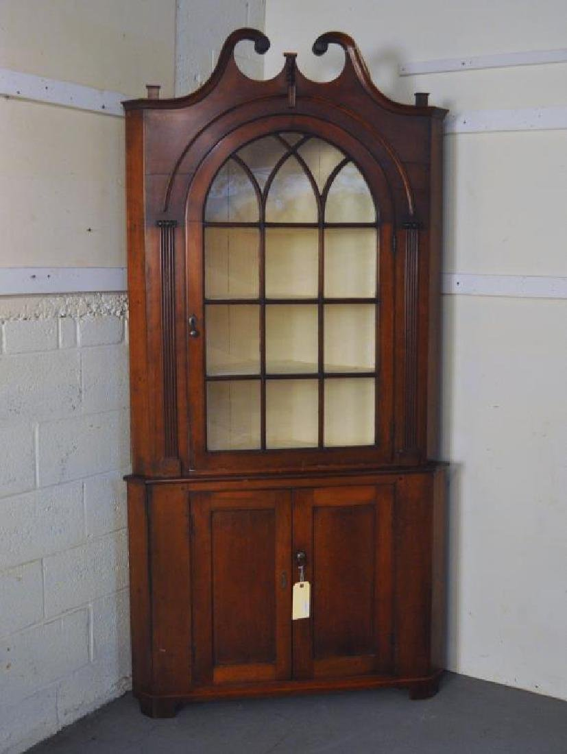 Chippendale Cherrywood Scroll Top Corner Cupboard