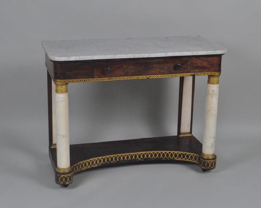 NY Classical Stencilled Mahogany M/T Pier Table