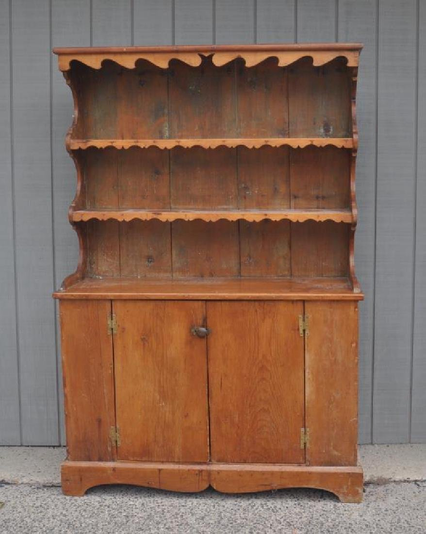 American Country Pine Pewter Cupboard