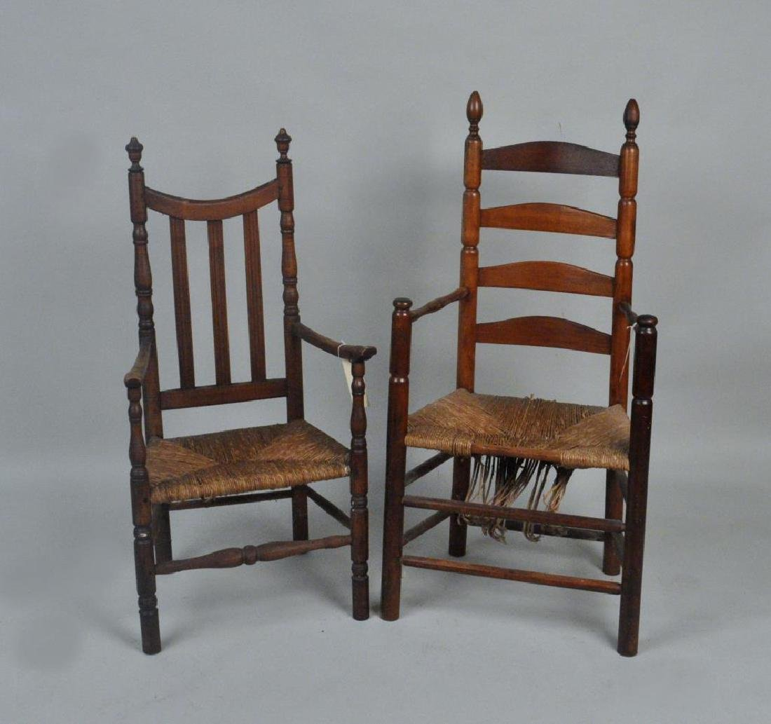 Two American Country QA Rush Seat Arm Chairs