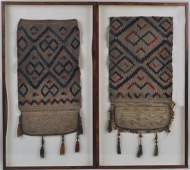 Pair Framed Middle Eastern Camel Saddle Bags