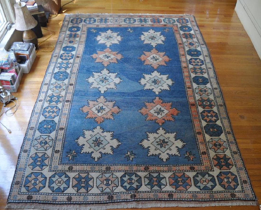 Tribal Geometric Blue Ground Oriental Rug