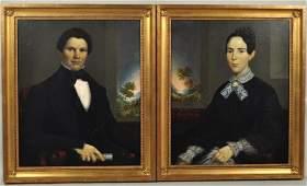 Pair American Folk Art Portraits