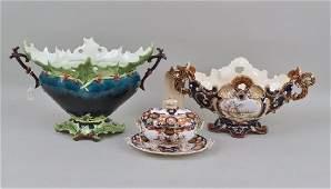 Two Majolica Handled Urns, English Imari Tureen