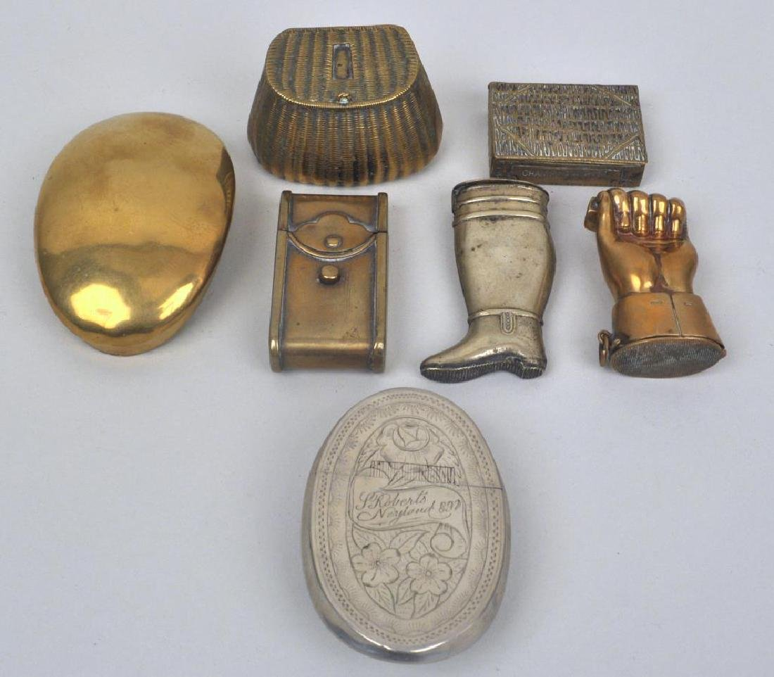 Five Brass Match Safes & Two Tobacco Boxes