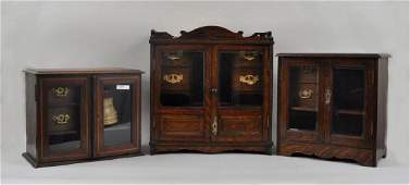 Three English Victorian Oak Tobacco Cabinets