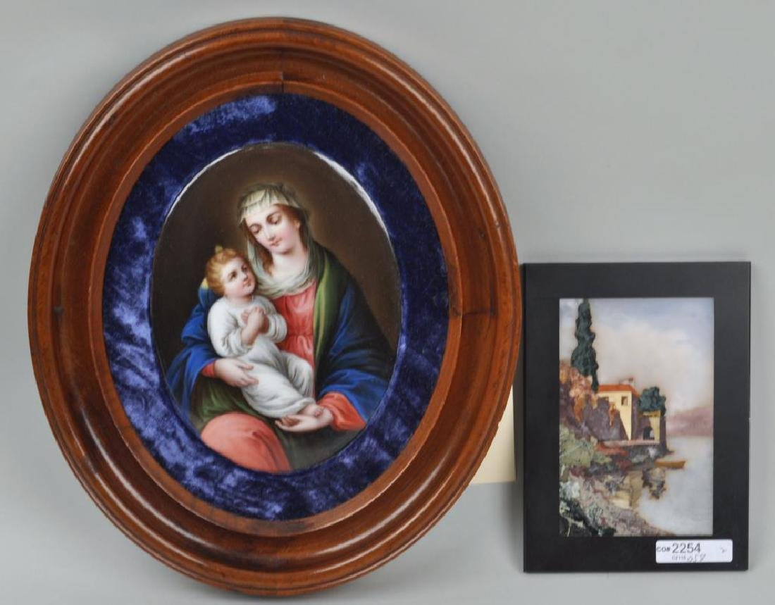 Continental Porcelain Plaque, Pietra Dura Plaque